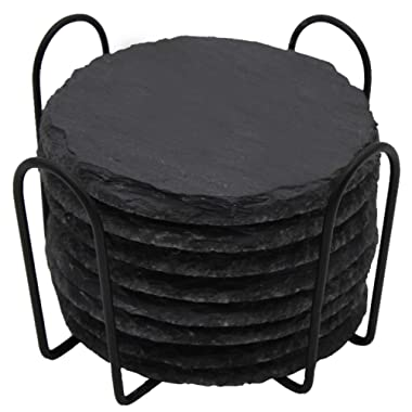 GOH DODD Drink Coasters with Holder, 8 Pieces Round Slate Stone Coasters 4 Inch Handmade Coasters for Bar and Home, Black