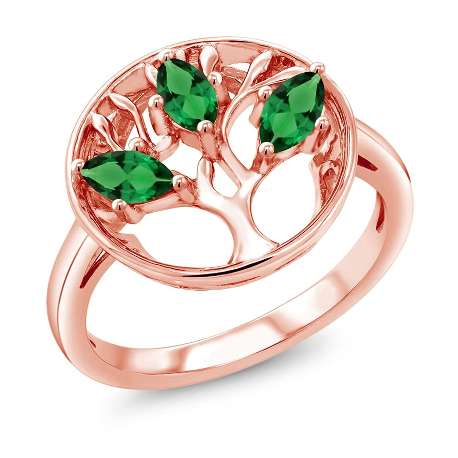 0.60Ct Marquise Green Simulated Emerald 18K Rose Gold Plated Silver 3-Stone Tree Of Life Ring