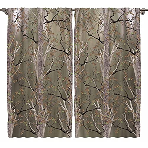 Camo Curtains By Ambesonne, Wildlife Natural Life Real Tree Design Decor  Decoration Lover Forest Wild Jungles Camouflage Print Bedroom Living Room  Curtain 2 ...