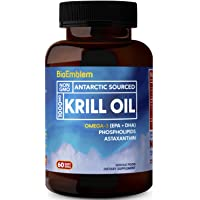 BioEmblem Antarctic Krill Oil Supplement   1000mg   Omega-3 Oil with High Levels of EPA + DHA, Astaxanthin, and Phospholipids   No Fishy Aftertaste   60-Count Non-GMO Softgels