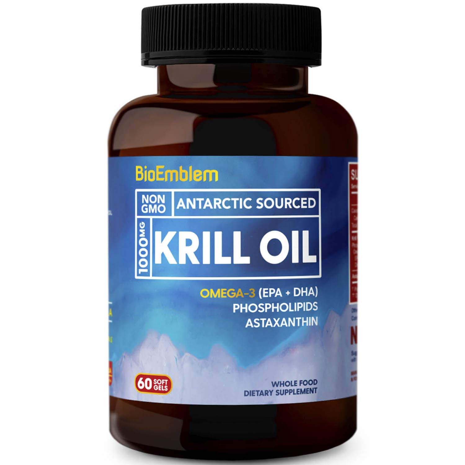 BioEmblem Antarctic Krill Oil Supplement | 1000mg | Omega-3 Oil with High Levels of EPA + DHA, Astaxanthin, and Phospholipids | No Fishy Aftertaste | 60-Count Non-GMO Softgels by BioEmblem