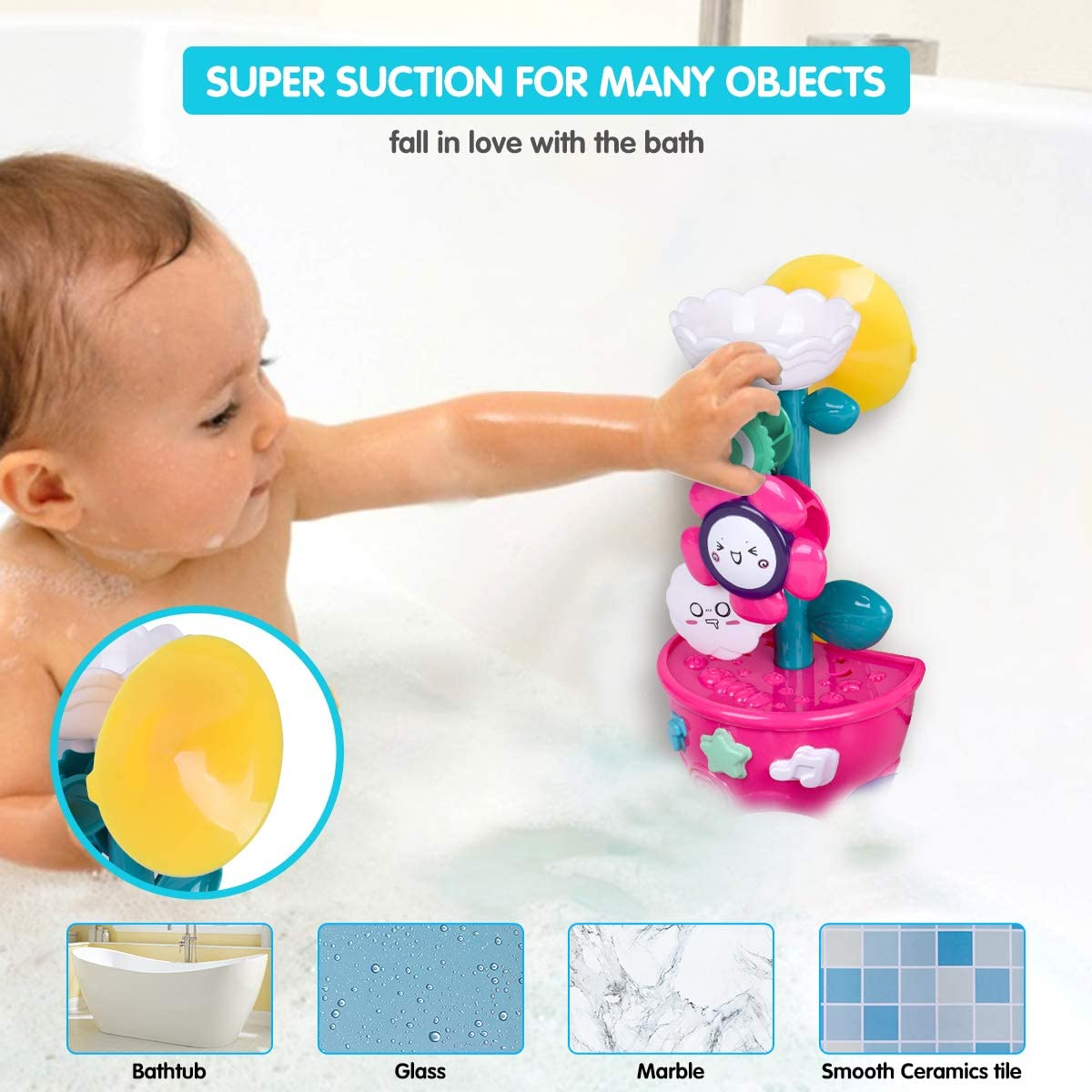 Kids 2-6 Years Bath Time Toys with 2 Suction Cups// 1 Watering Can// 4 Leaky Cups Girls Boys Ideal Gift Agomttv Bath Toys Bathtub Toys with Rotating Waterfall Flower Bathing Toys for Toddlers Babies