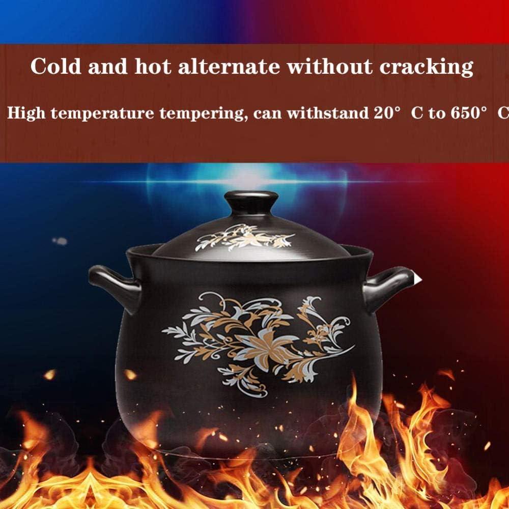 Resistenza Alle alte Temperature capacit/à 5L Nero fornello a induzione universale a Fiamma Aperta TELLMNZ Casseruola Pentola per stufati Sana e durevole