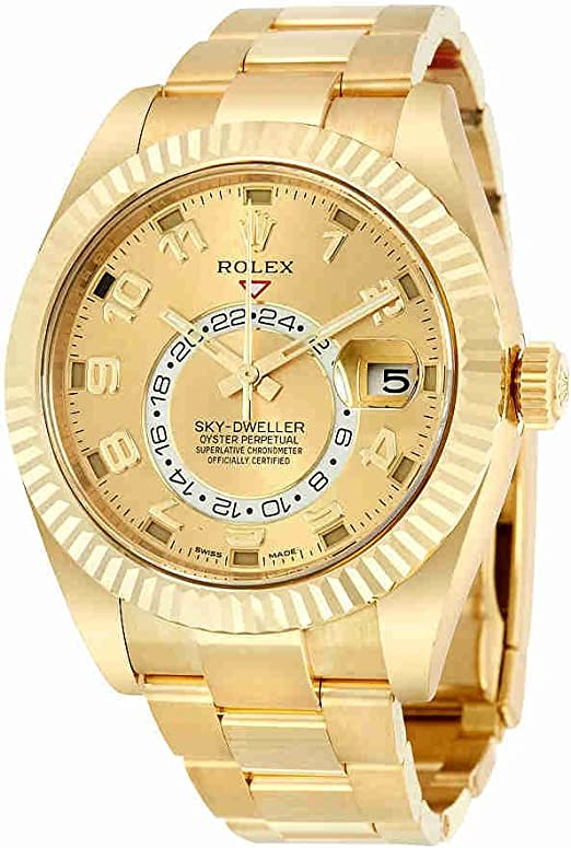 Amazon.com: Rolex Sky Dweller Champagne Dial GMT 18kt Yellow Gold Mens  Watch 326938CAO: Watches