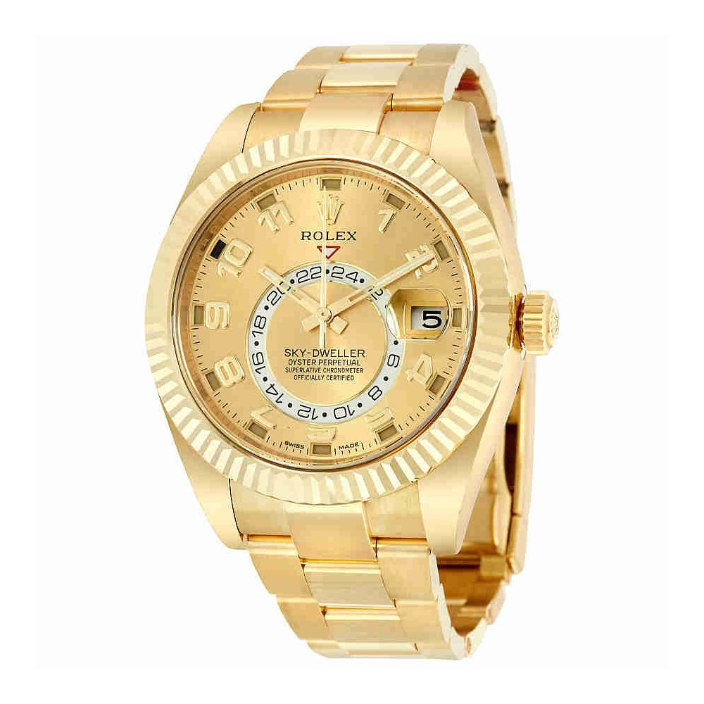 Rolex Sky Dweller Champagne Dial GMT 18kt Yellow Gold Mens Watch 326938CAO