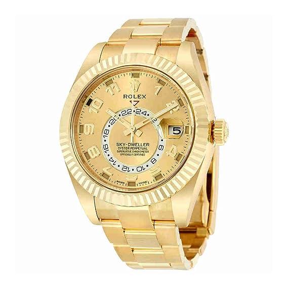 Rolex cielo Dweller Champagne Dial GMT 18 kt Amarillo Oro Mens Reloj 326938 Cao: Amazon.es: Relojes