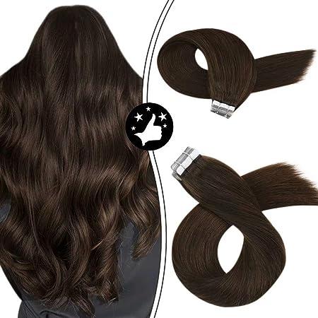 Image ofMoresoo 14Pulgadas/35cm Brasileño Extensiones Cinta Adhesiva de Pelo Natural #4 Marrón Medio Tape in Remy Hair Extensions 40g/20pcs