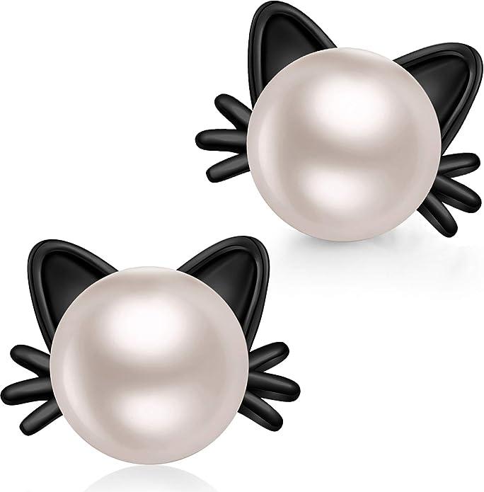 Kitty Cat Pet Sterling Silver Ear Threads Beach Threader Earrings Pair 4.25 Adjustable Length 1712ET