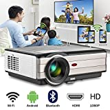Bluetooth Video Projector Android Wifi LCD Home Cinema Projectors HDMI 1080P Support 3500 Lumen Wireless Outdoor Movie Projectors for Mobile Phone Laptop TV