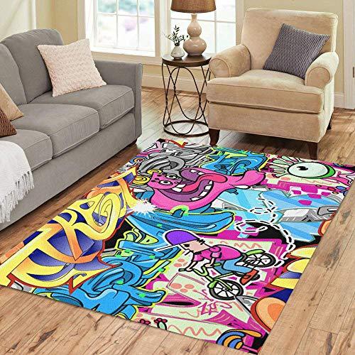 - Semtomn Area Rug 3' X 5' Grafitti Graffiti Wall Urban Graffitti Hip Spray Hop Pattern Home Decor Collection Floor Rugs Carpet for Living Room Bedroom Dining Room
