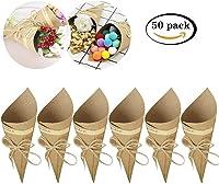 Killow - Lote de 50 Conos de Papel Kraft + 50 Cuerdas + 50 Pegatinas para Caramelos