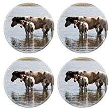 Luxlady Natural Rubber Round Coasters IMAGE ID: 34227385 Mongolian tents called yurts in a nature reserve in Mongolia free horse grazing