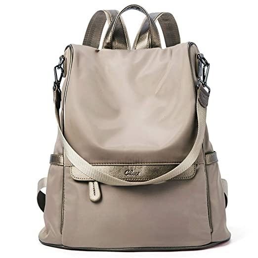 e42cda65ea Women Backpack Purse Nylon Fashion Casual Shoulder Bag Lightweight Water  Resistant School Backpack gold brown