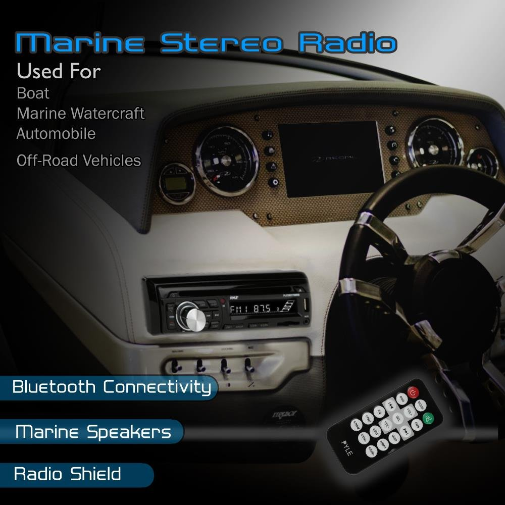 "2 Marine Stereo Receiver Speaker Kit in-Dash LCD Digital Console Built-in Bluetooth /& Microphone 6.5/"" Waterproof Speakers Pyle PLCDBT75MRB Sound Around w// MP3//USB//SD//AUX//FM Radio Reader /& Remote Control"