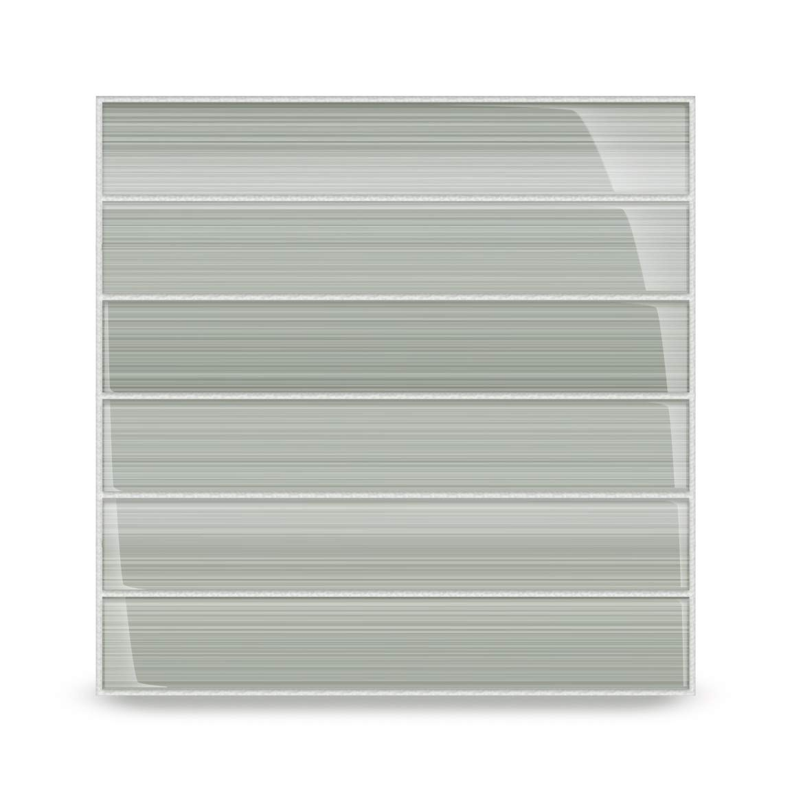 Stratus Perfect Gray Glass Tile. Hand Painted and Custom Made. Perfect for Bathrooms and Kitchens. 2x12