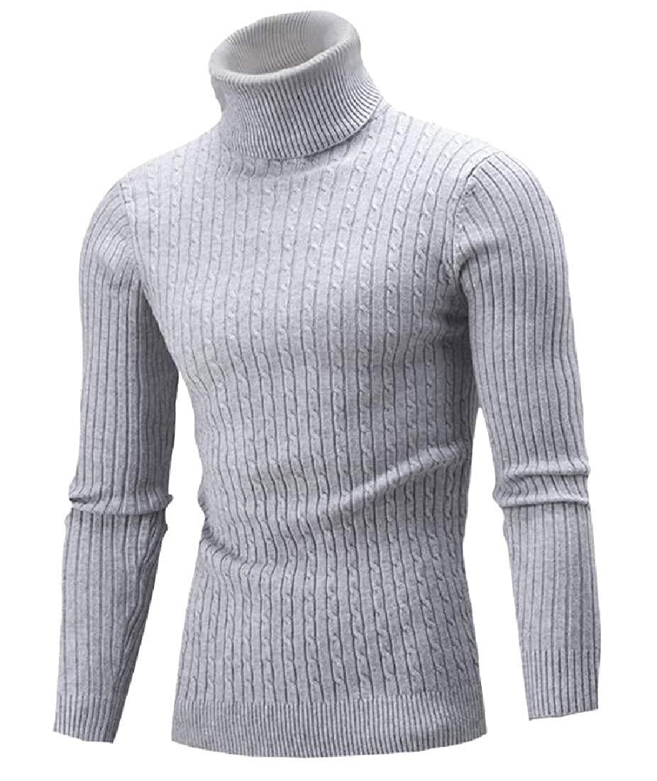 YUNY Mens Mock Neck Long Sleeve Jumper Tops with Ribbing Edge Grey L