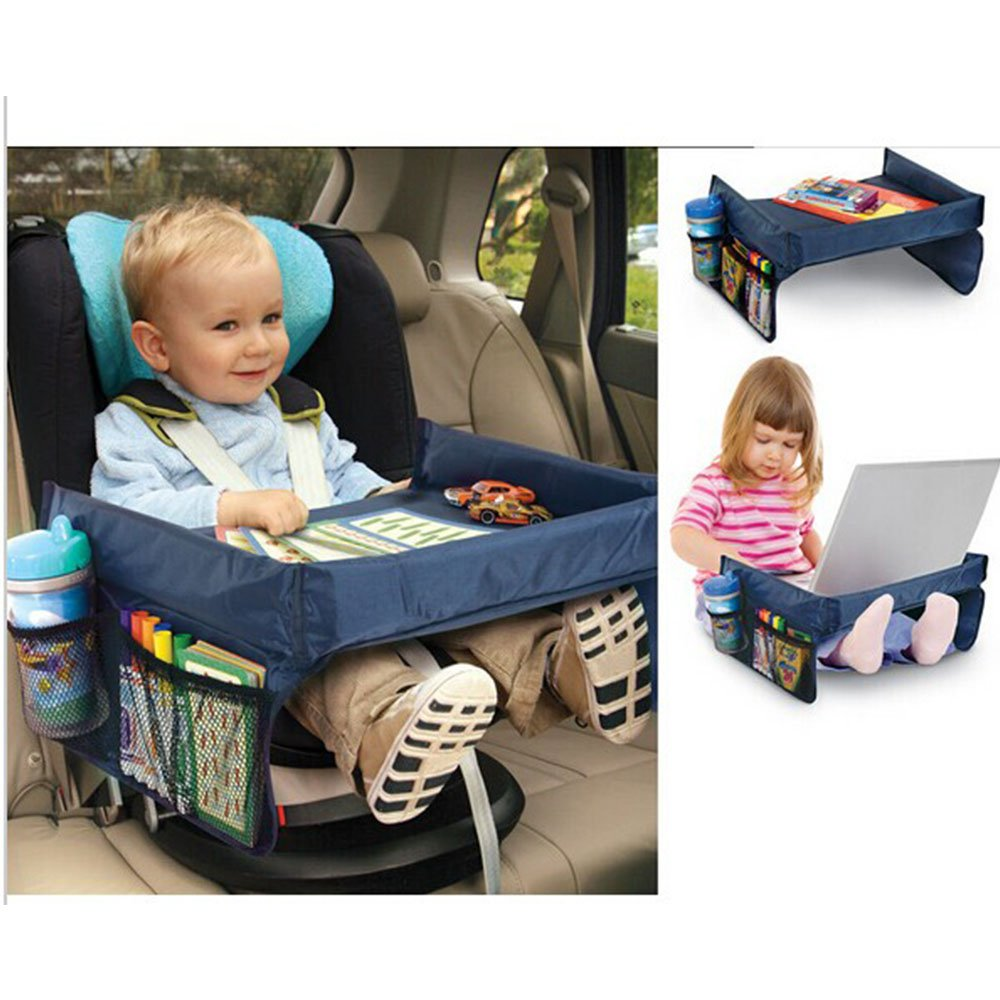 Blue Car Seat Travel Tray for Toddler Kids, Portable Organizer Playing Table Desk Suitable on Baby Stroller, Carseat Booster for Middle Seat, Airplane, Child Activity on Trays - Snack Food,Play Toy coffled