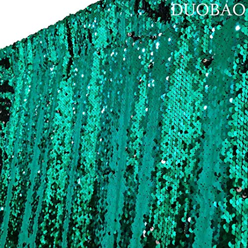 DUOBAO Sequin Curtains 2 Panels 96 Inches Silver Glitter Backdrop Curtain Green to Silver Reversible Sequin Backdrop for Photo Booth Mermaid Sequin Backdrop 4FTx8FT by DUOBAO (Image #3)