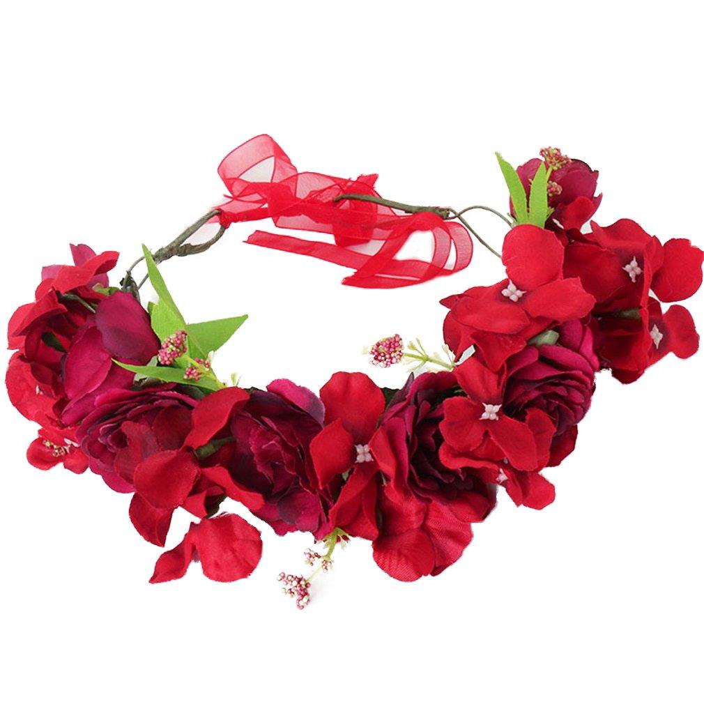 YAZILIND Boda de Flores de Novia Corona de Dama de Honor Rosa Floral Guirnalda de Playa Tocado Foto apoyos para el Viaje (Rojo): Amazon.es: Joyería