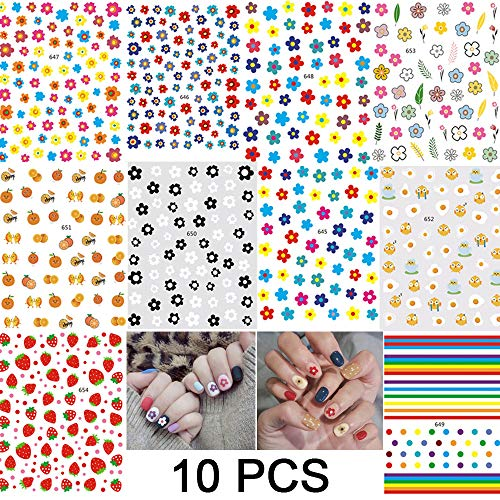 (Summer Line Nail Decals for Girls 10 Sheets Water Slide Nail Tattoo Stickers Fruit Flowers Chick Leaves Water Transfer Nail Art Stickers Cartoon Nail Stickers for Fingernails Art Decoration Accessori)