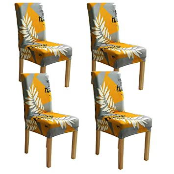 Groovy Amazon Com Bjyhiyh Yellow And Gray Chair Covers Stretch Squirreltailoven Fun Painted Chair Ideas Images Squirreltailovenorg