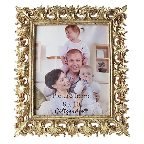 Giftgarden Gold Vintage Picture Frame 8 by 10 -Inch Home Decor for Photo - Vintage Frame Gold