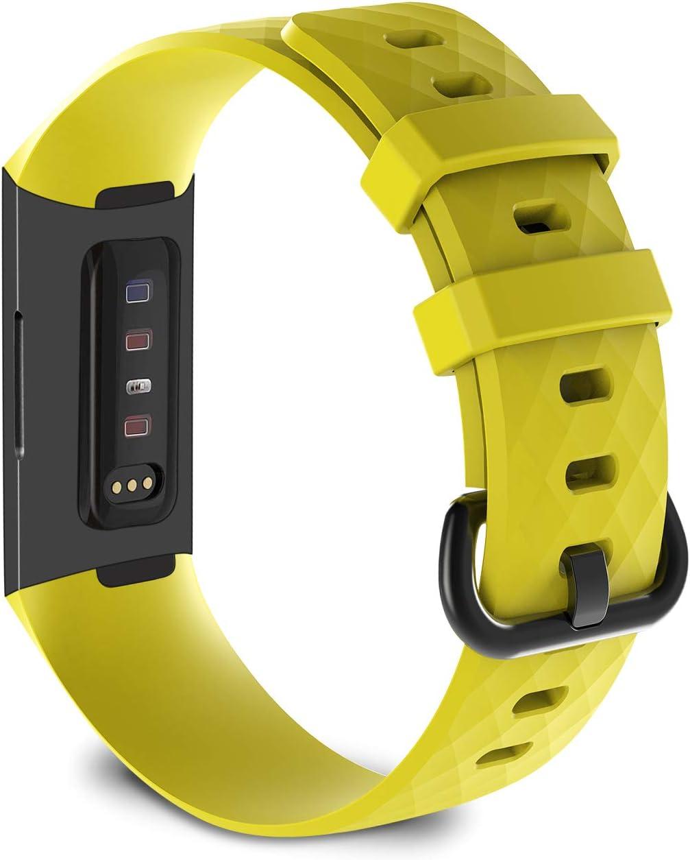 KingAcc Compatible pour Fitbit Charge 3 Bracelet /Élastique R/églable Bracelet De Rechange avec Classique en Aluminium Boucle en Alliage