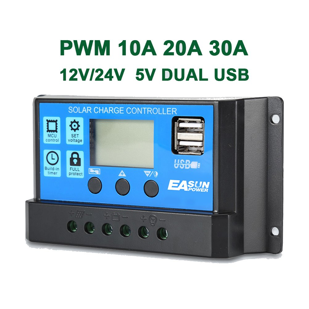 Alotm 30A 12V/24V Solar Charge Controller Solar Paner Battery Intelligent Regulartor with USB Port LCD Display by Alotm