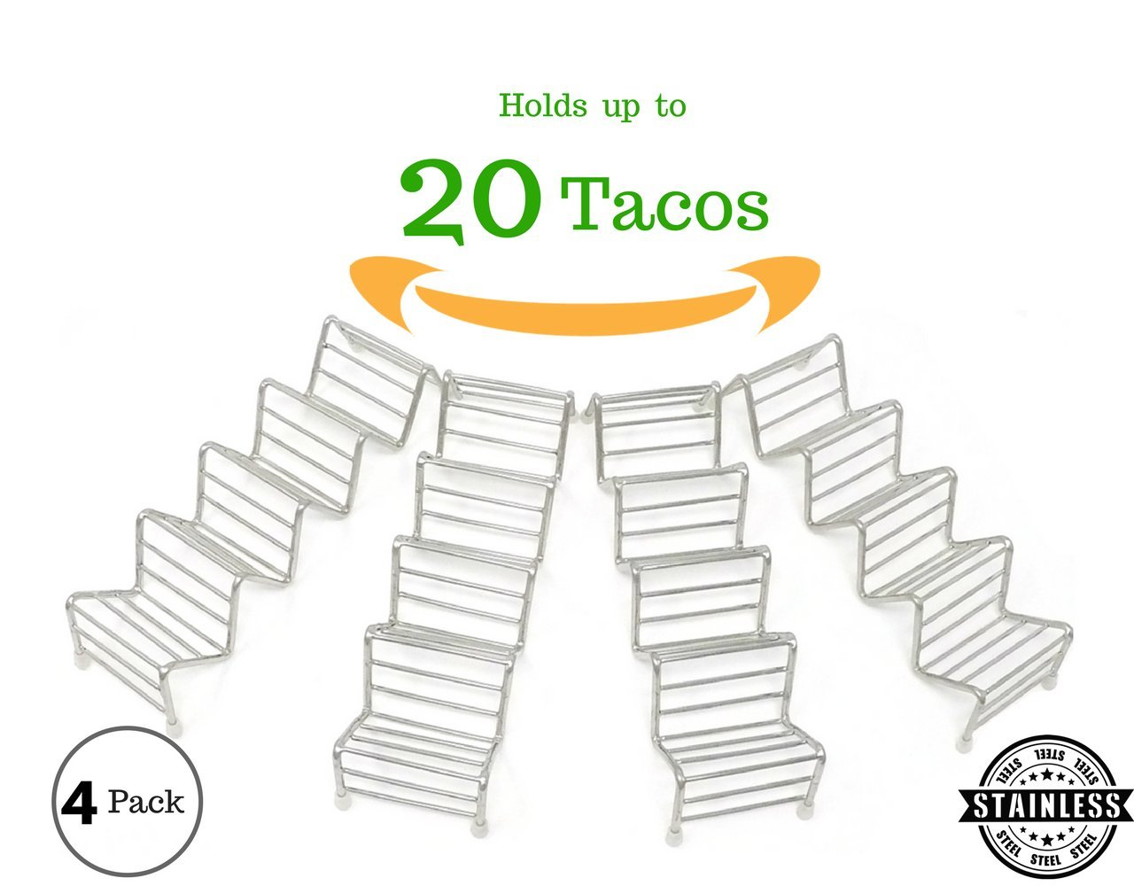 "Taco Huyaco Rack, Taco Holder, Taco Stand | Holds up to 20 Tacos - Soft or Hard Shell | Premium Quality 304 Stainless Steel (8.5"" long) 