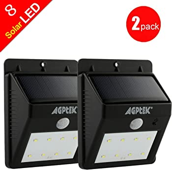 AGPtEK Solar Powered Wireless 8 LED Security Motion Sensor Light