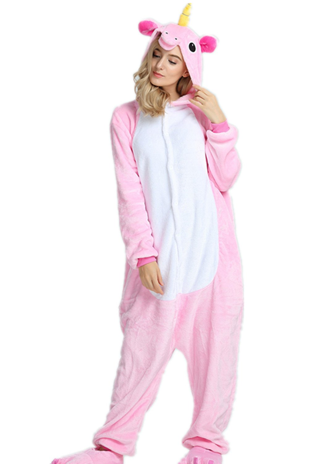Kenmont Adult Animal Unicorn Pajamas Halloween Cosplay Costume Pajama Outfit (L, Pink)