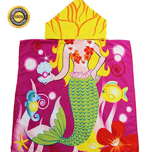 Hooded Mermaid Towel for Kids Beach and Pool Towels Super Soft Quality Children's Towels for Ages 1 to 6 Years Old| Large Size 48 X 24 for Girls | Super (Free Fleece Poncho Patterns)
