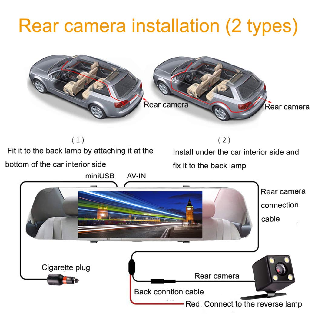 【2019 New Version】Mirror Dash Camera Dual Lens 7 inch Touch Screen Full HD 1080P Dash Cam for Cars 170/° Wide Angle Front and Rear View Backup Camera Reversing Vehicle Recorder G-sensor Loop Recording Parking Monitor Motion Detection