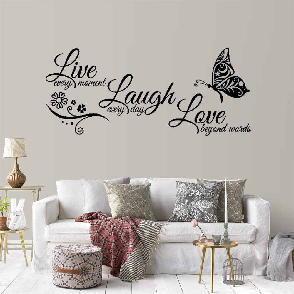 Supzone Live Laugh Love Wall Stickers Lettering Sticker Quotes Sayings Wall Decals Removable Vinyl Living Room Bedroom Nursery Room Butterfly Flowers Wall Decor