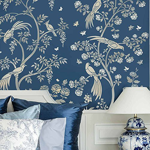 oiserie Wall Mural Stencil - DIY Asian Garden Decor - Reusable stencils for Home Makeovers (Small) (Rose Mural)