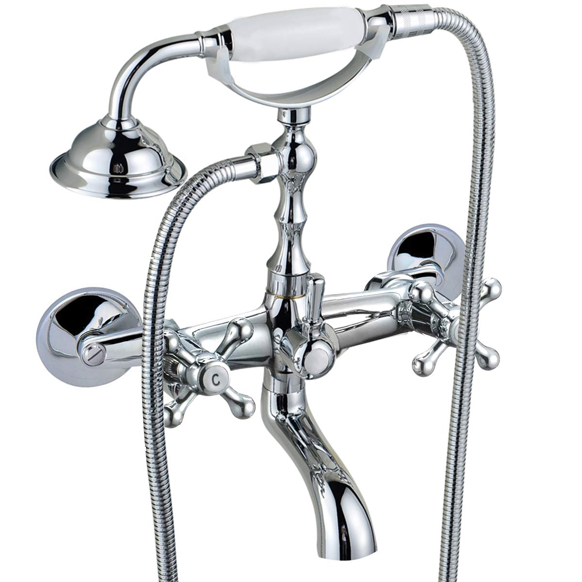Wall Mounted 7-Inch Spout Kitchen Sink Faucet 8 Inch Double Knobs ...