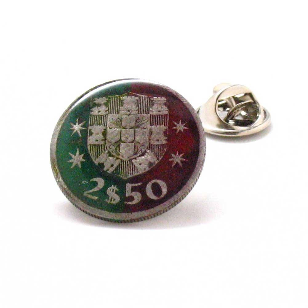 Portugal Coin Tie Tack Lapel Pin Flag Lisbon Argave terno joalheria lapela Amarração Sintra moeda