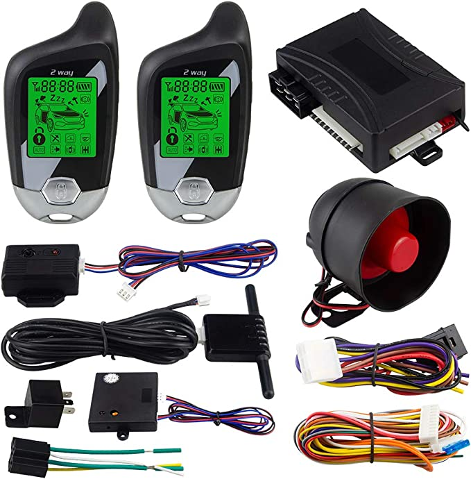 Easyguard Ec202 2 Wege Auto Alarmanlage Mit Lcd Pager Display Motorstart Und Mikrowellensensensor Dc 12 V