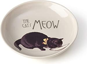PetRageous 17005 Pet Derby Stoneware Dishwasher Safe Cat Saucer 2.5-Ounce 5-Inch Diameter 1-Inch Tall Cats, Off-White