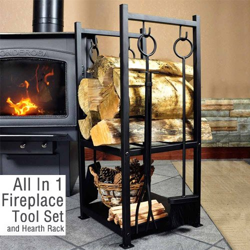 WoodEze HR2501WA Hearth Firewood Rack With Fireplace Tool Set - Black