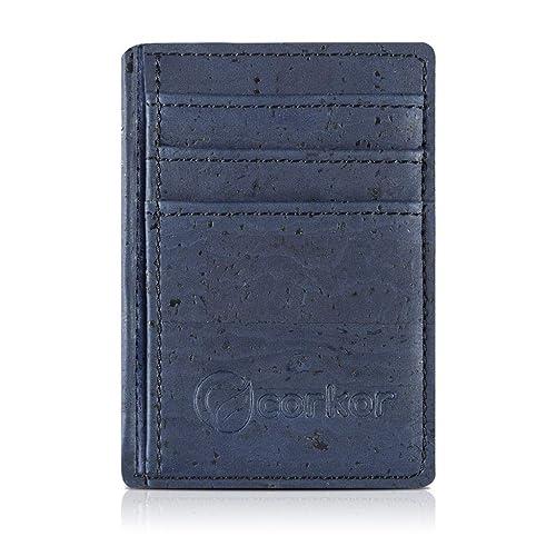 79cd298245 Corkor Portafoglio Uomo di Sughero Porta Documenti Carte da Credito Vegan  Blu: Amazon.it: Scarpe e borse