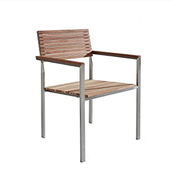 Chaise de jardin - acier inox et teck - Viareggio: Beliani: Amazon ...