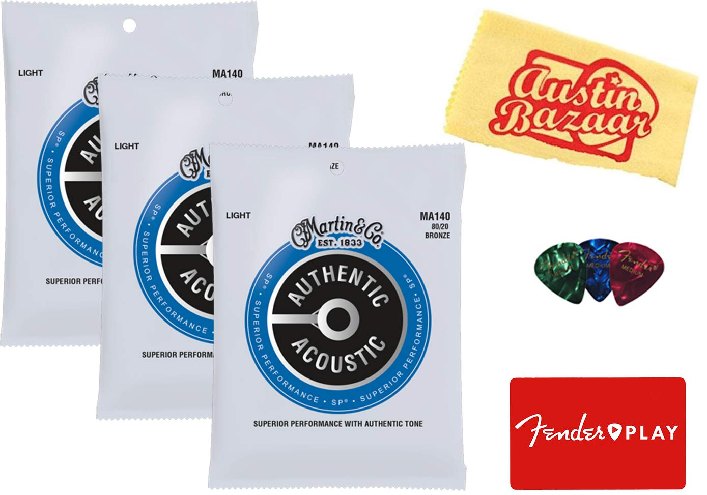 Martin M140 80/20 Bronze Acoustic Guitar Strings, Light - 3 Pack with Picks and Fender Play by Martin