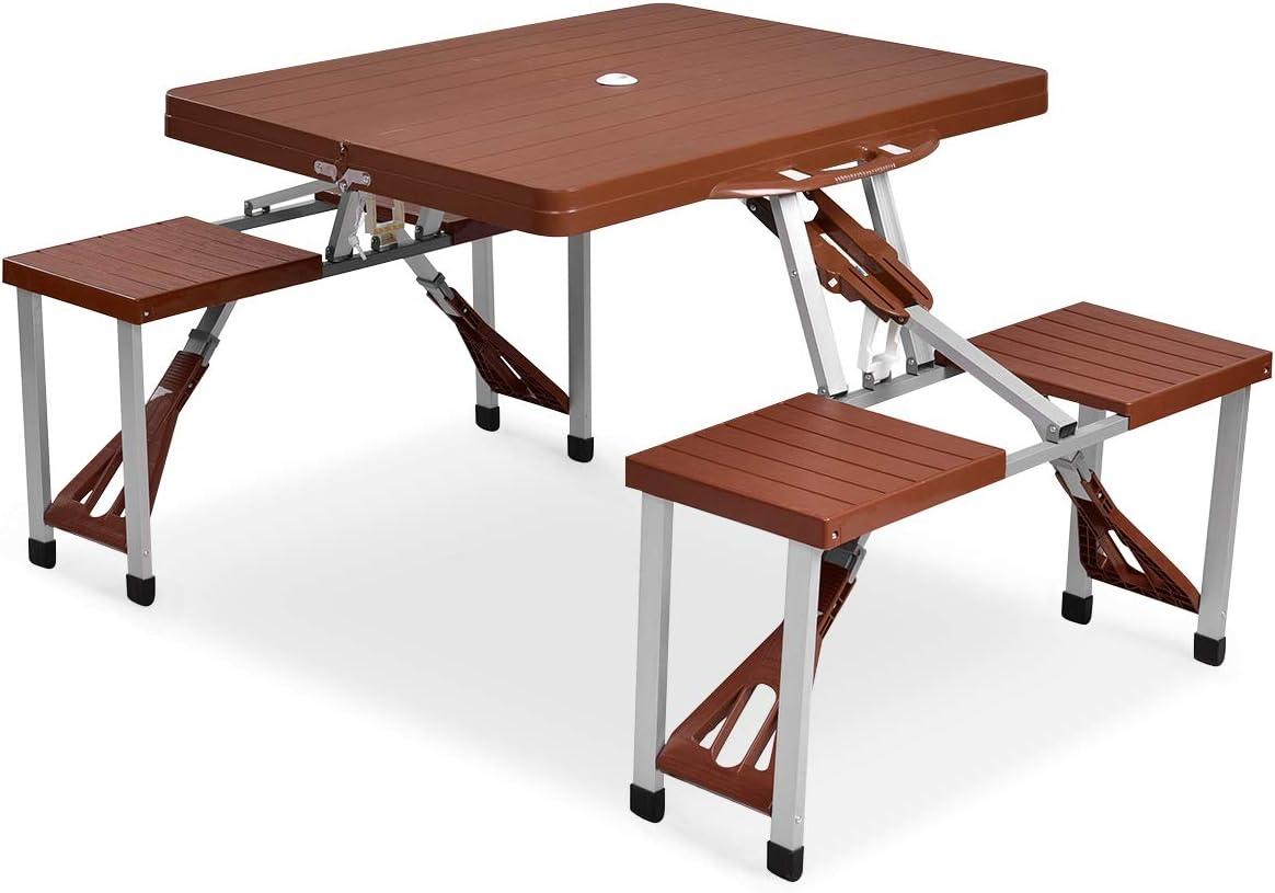- Amazon.com: Giantex Portable Folding Picnic Table With Seating For