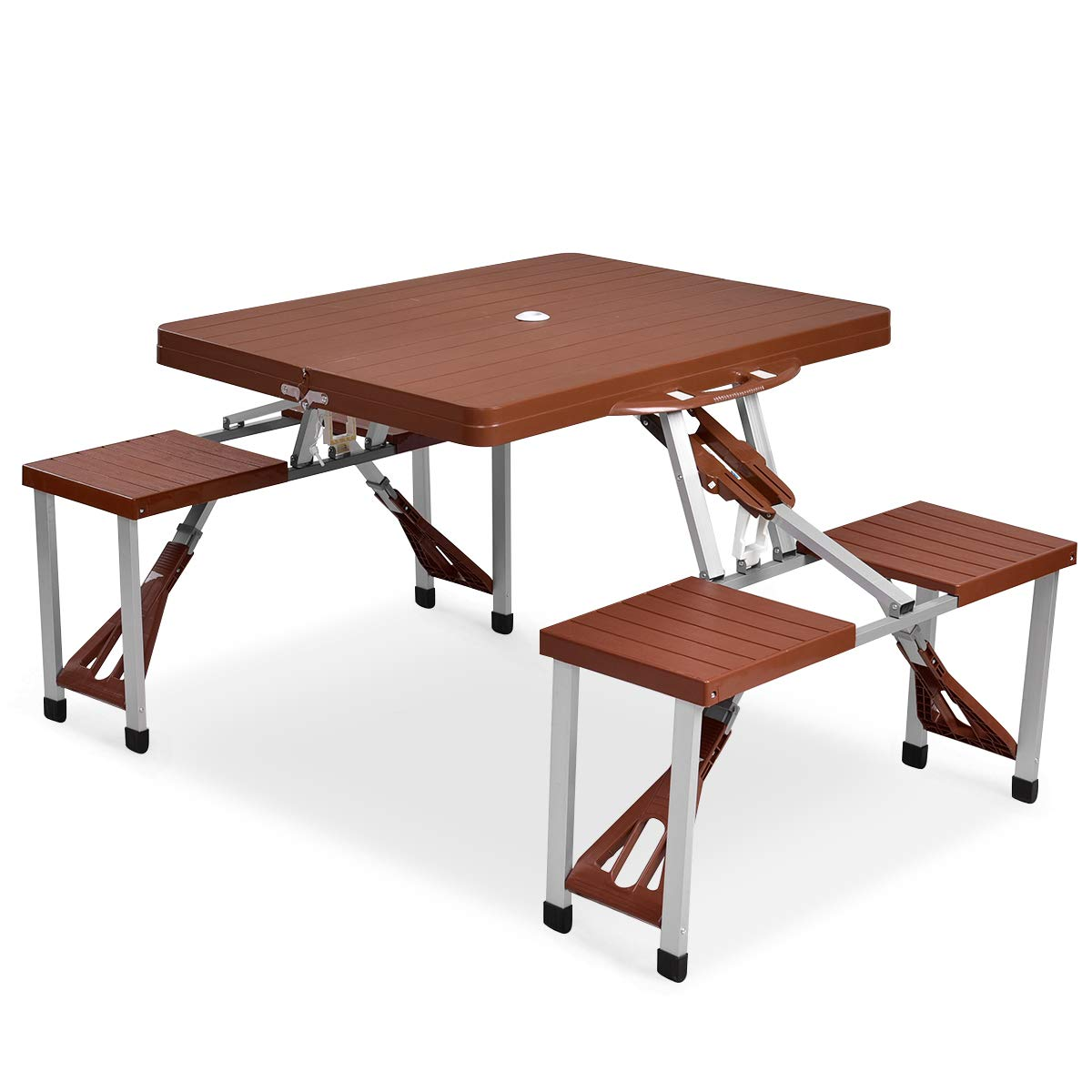 Giantex Portable Folding Picnic Table with Seating for 4 Garden Party Camping Time Design Brown