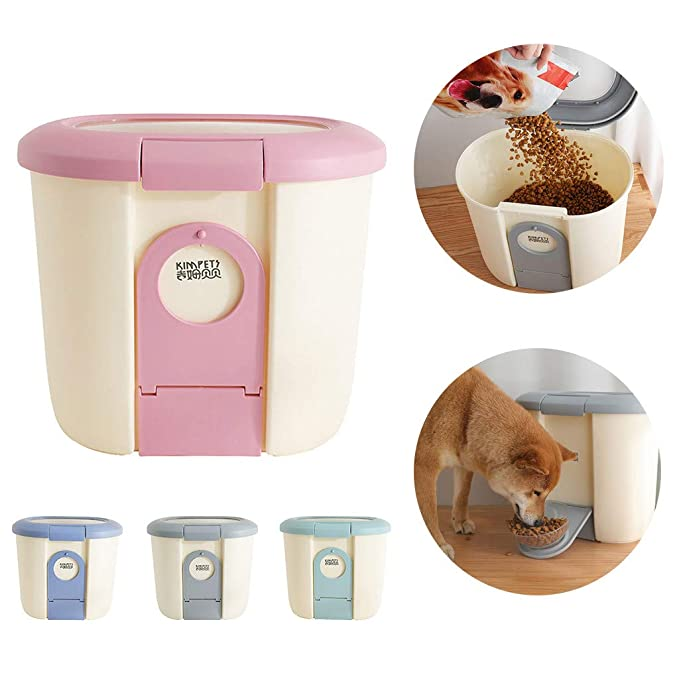 CAOQAO - Dispensador de Alimentos para Perros y Gatos, 5 l, con ...