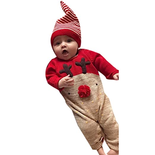 3b9ec16ce Amazon.com: Newborn Christmas Deer Outfits Baby Boys Girl Clothes Jumpsuit+ Hat Set Romper: Clothing