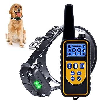 Collar de Entrenamiento de Perro, Recargable e Impermeable electrónico Perro Entrenador de la operación de Ciego Collar controlado con Tono/vibración ...