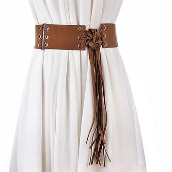 da885fbda7e469 NSSBZZ Lady Breiten Taille Lange Fransen dekorativen Knoten Gürtel  weibliche Riemen, Licht Kaffee