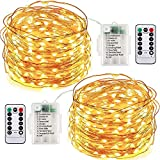 XKXZJ Led Fairy String Lights,2 Set 10m/33ft 100led Battery operated Copper Wire string lights with Remote Control ,8modes waterproof Decor lights Starry Light For Indoor/outdoor Bottle Garden Bedroom Wedding,Tree (Warm white)